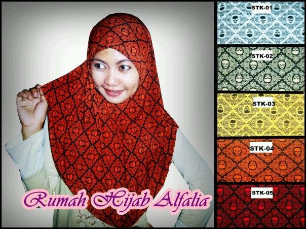 jilbab syiria motif tengkorak kombinasi batik