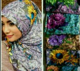 Jilbab Syiria Metalik Motif Sunflower