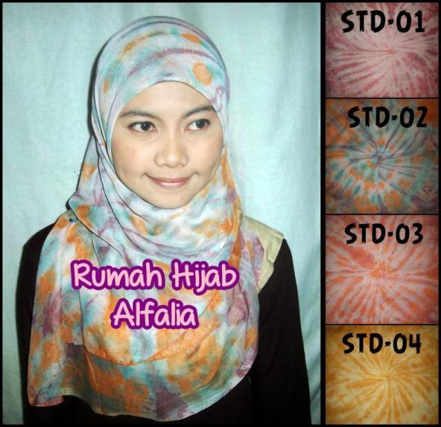 Grosir Jilbab Segi Empat Harga Murah Dengan Kreasi Motif Tie Dye Lokasi di Surabaya