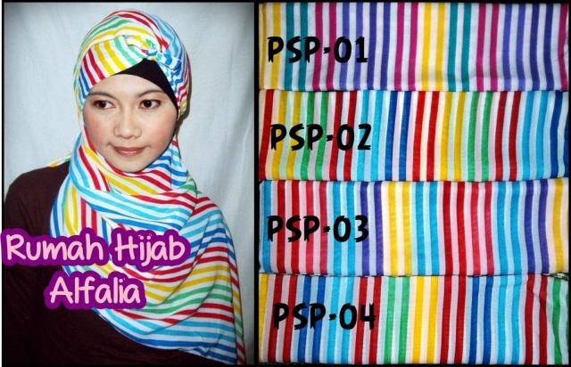 Jual Jilbab Pashmina  Motif Stripe Pelangi Harga Murah Lokasi di Surabaya