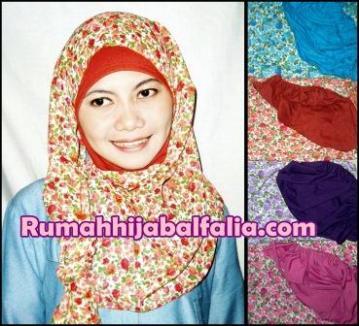 Grosir Jilbab Murah  Pashmina Instan Fathia Bunga