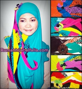 Jilbab Cantik Murah Syiria Fathin Abtrak Rainbow