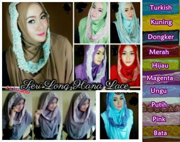 Instan Long hana lace renda_macam macam model jilbab